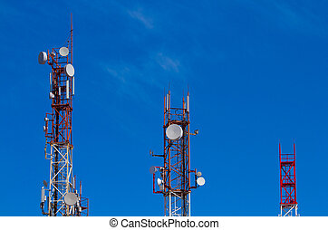 cell tower on a background of blue sky