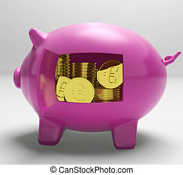 Euros In Piggy Shows Wealth And Success