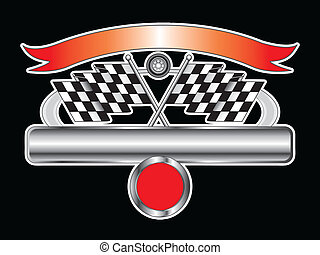 Racing Design With Chrome Banner - Illustration of a Racing...