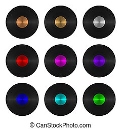 A set of nine vinyl records isolated on white background