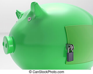 Piggybank With Closed Door Shows Security Vault