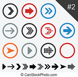 Flat arrow icons - Vector illustration of plain round arrow...