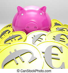 Piggybank Surrounded In Coins Showing European Incomes And...