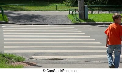 Little boy looks around and crosses road by zebra at sunny...