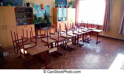 Panorama of classroom with school desks