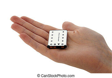 Battery - Camera Battery - held on a palm - An isolated...