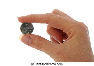 Battery - Watch Battery (CR2025) - held in fingers - An...