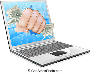 Cash Fist Laptop Concept