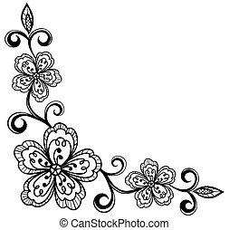 Esquina, ornamental, encaje, flores, bla