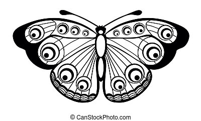 black and white butterfly isolated - Beautiful black and...