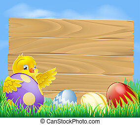 Easter chicken and chocolate painte - Yellow Easter chicken...