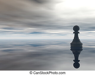 chess pawn and cloudy sky - 3d illustration
