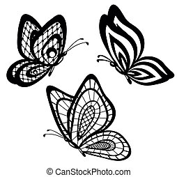 black and white lace butterflies - set of beautiful black...