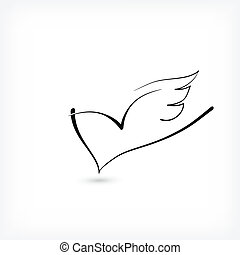 Heart with wings as a minimal logo for free love -...