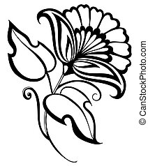 beautiful black and white flower,retro style