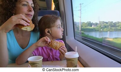 Mother with daughter eat marzipans and watch to train window...