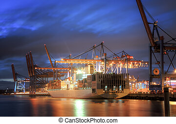 Container Ship - Container ships in the harbour at Hamburg,...