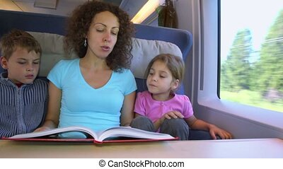 children listen how mother reads book when they travel in train