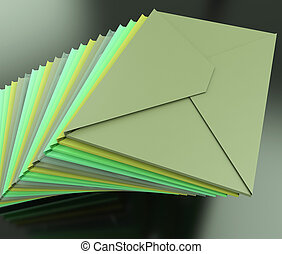 Stacked Envelopes Shows E-mail Symbol Contacting Sending -...
