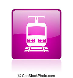train violet square web glossy icon