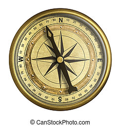 antique nautical compass isolated on white - antique...