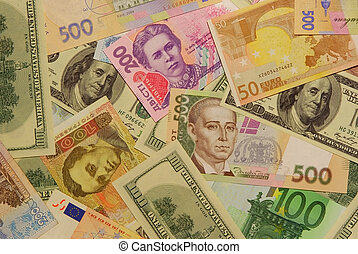 The Ukrainian modern money (grivna) and other popular currency.
