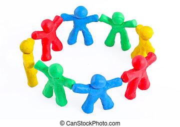 pequeño, círculo, diverso, alegre, Plasticine,...