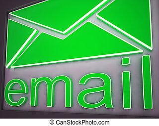 コミュニケーション, ボタン, 印, 電子メール, オンラインで, 提示