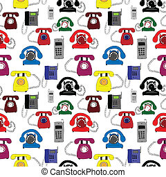 Illustration with different types of telephones -...