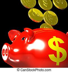 Coins Entering Piggybank Showing American Savings