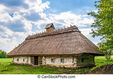A typical ukrainian antique house, in Pirogovo near Kiev