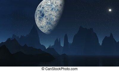 The fantastic moon against mountain