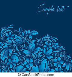 blue flower ornament, gzhel russian style