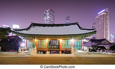 Seoul Temple - Bongeunsa Temple grounds in the Gangnam...