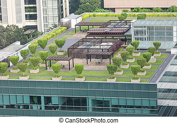 Garden on the roof concept - Nice symmetrical garden located...