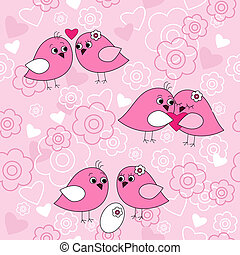 Seamless pattern with birds in love