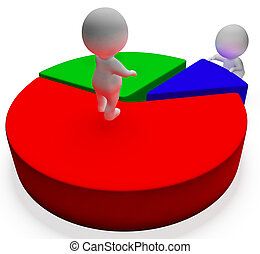 Pie Chart And 3d Characters Showing Statistics Report - Pie...