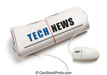 Tech News, Computer mouse and Newspaper Roll with white...