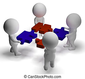 Jigsaw Pieces Being Joined Showing Teamwork And Assembling -...