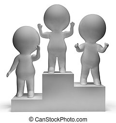 Podium With 3d Characters Shows First Place And Winning -...