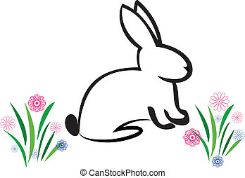 Easter Bunny illustration vector logo
