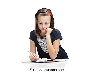 Little girl concentrates on the task - Little girl...