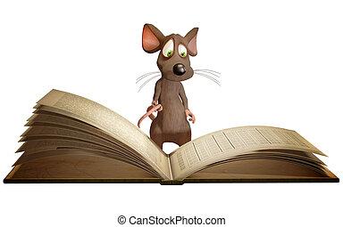 ratón, lectura, libro
