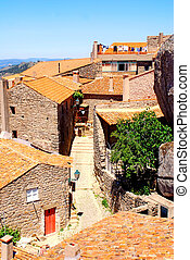 old stone village with red tile roofs (Portugal )