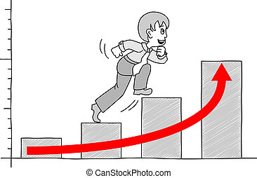 chart with businessman 2 - illustrated chart with...