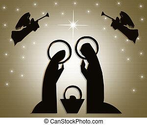 Natal, abstratos, natividade, cena