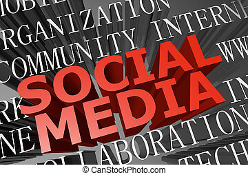 Social media word cloud - 3D rendered word cloud of social...