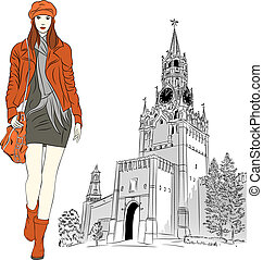 Vector sketch of the lovely fashion girl in Moscow - Vector...
