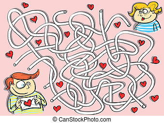 Valentines Maze Game for children Hand drawn illustration in...