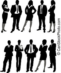 business people silhouettes - the silhouettes of business...